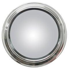 Midcentury Round Polished Chromed and Smoked Italian Mirror, 1960s