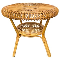Midcentury Round Rattan and Bamboo Coffee Table, Italy, 1960s