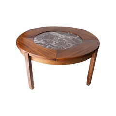 Midcentury Round Rosewood Marble French Coffee Table, France, 1970