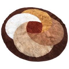 Midcentury Round Rug/Carpet, Denmark, 1960s