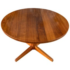 Midcentury Round Solid Teak Danish Extension Dining Table by CJ Rosengaarden