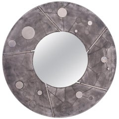Midcentury Round Steel Mirror With Incised and Applied Design