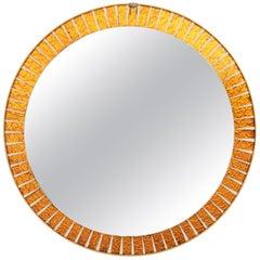 Midcentury Round Sunburst Mirror with Orange Glass Mosaic Frame