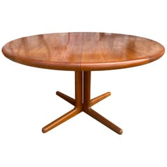 Midcentury Round Teak Danish Extension Dining Table by CJ Rosengaarden