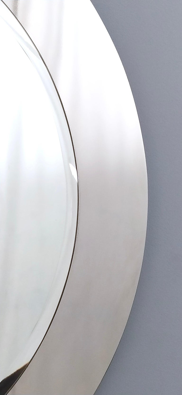 Midcentury Round Wall Mirror with Mirrored Steel Frame, Italy, 1970s For Sale 4