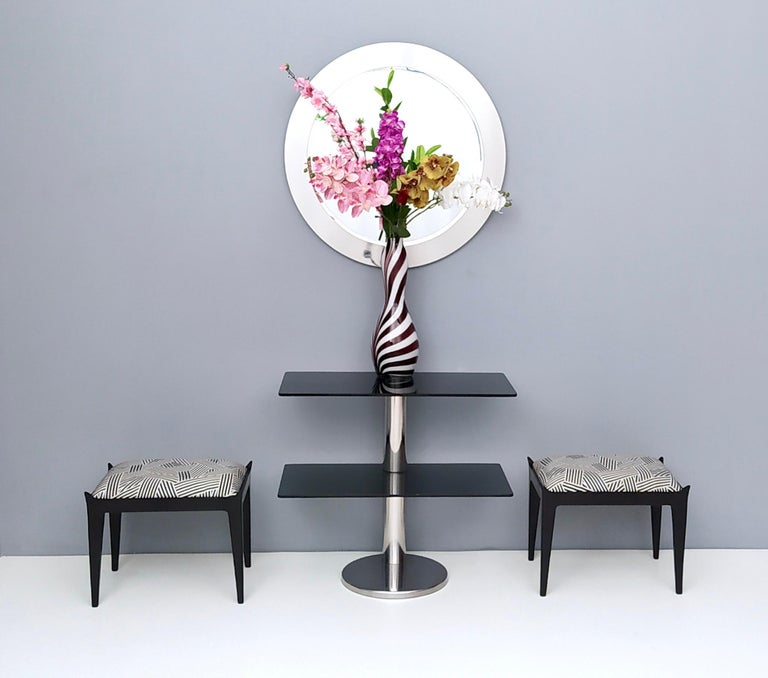 Mid-Century Modern Midcentury Round Wall Mirror with Mirrored Steel Frame, Italy, 1970s For Sale