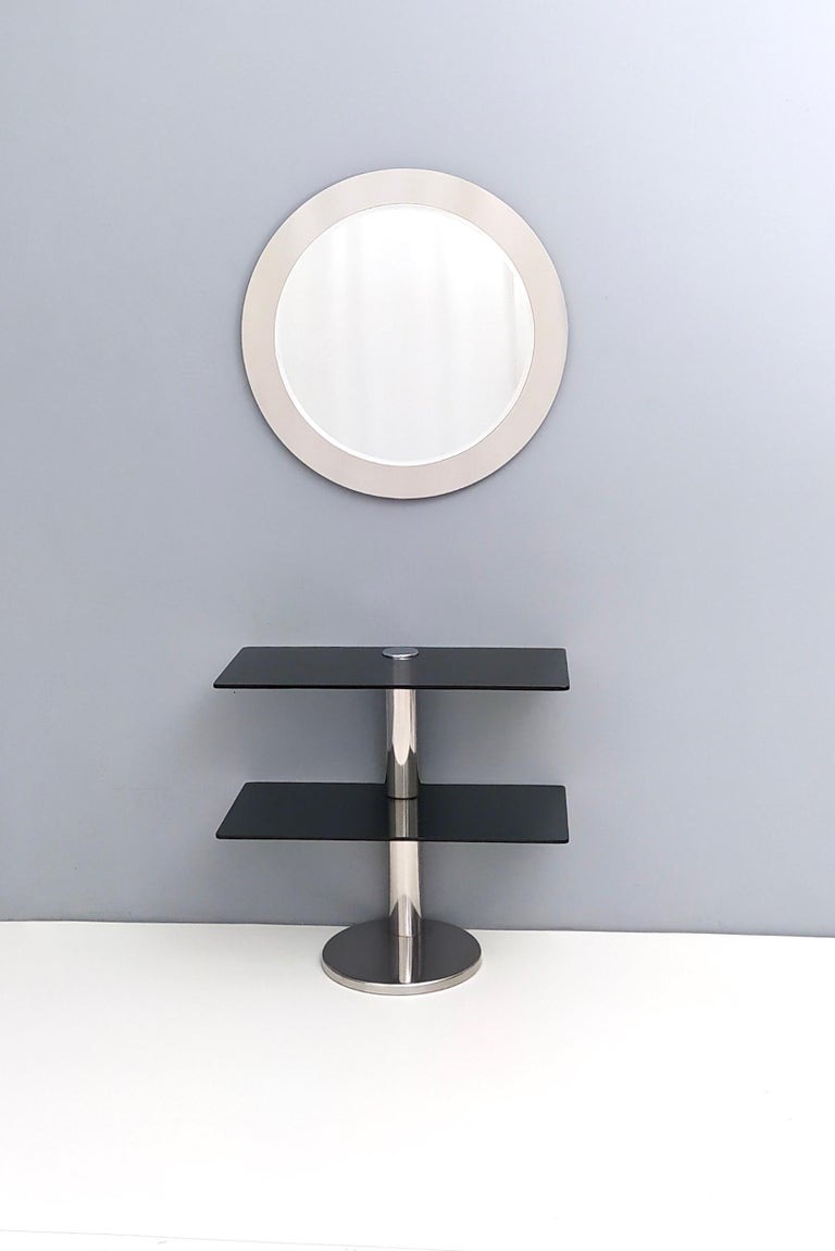 Midcentury Round Wall Mirror with Mirrored Steel Frame, Italy, 1970s For Sale 1
