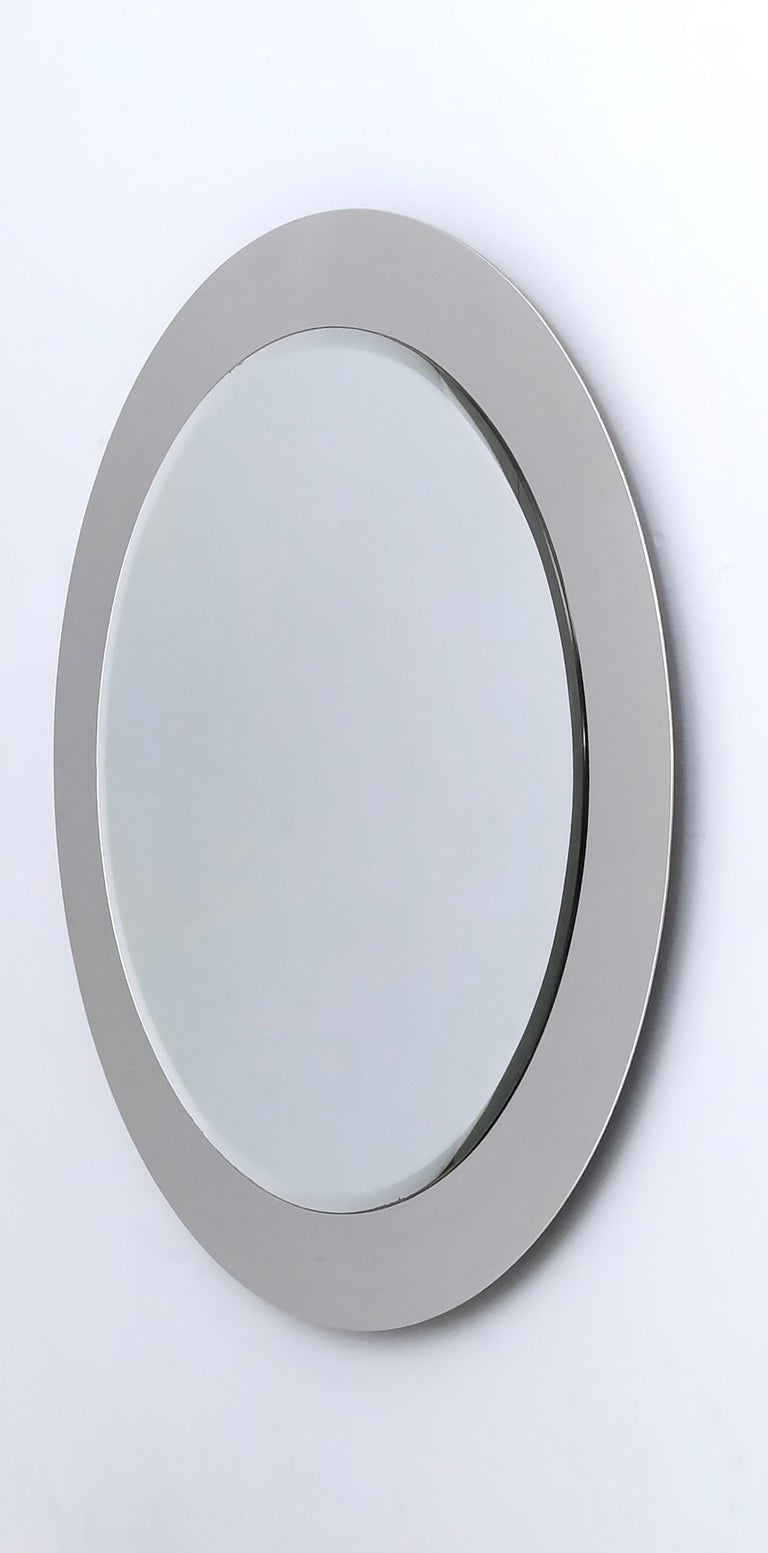 Midcentury Round Wall Mirror with Mirrored Steel Frame, Italy, 1970s For Sale 2