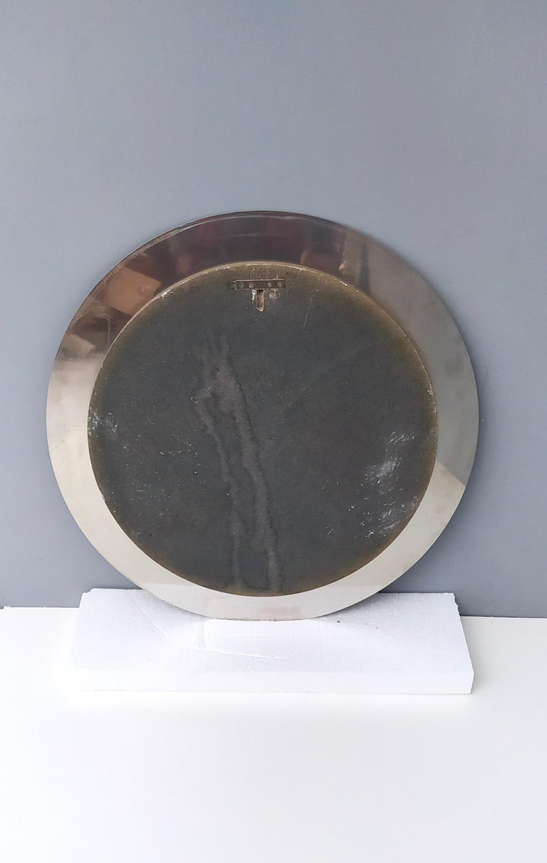 Midcentury Round Wall Mirror with Mirrored Steel Frame, Italy, 1970s For Sale 3