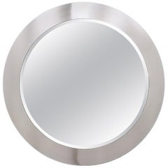 Midcentury Round Wall Mirror with Mirrored Steel Frame, Italy, 1970s
