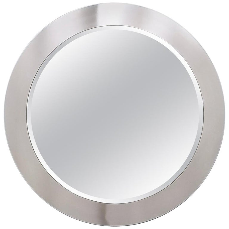 Midcentury Round Wall Mirror with Mirrored Steel Frame, Italy, 1970s For Sale