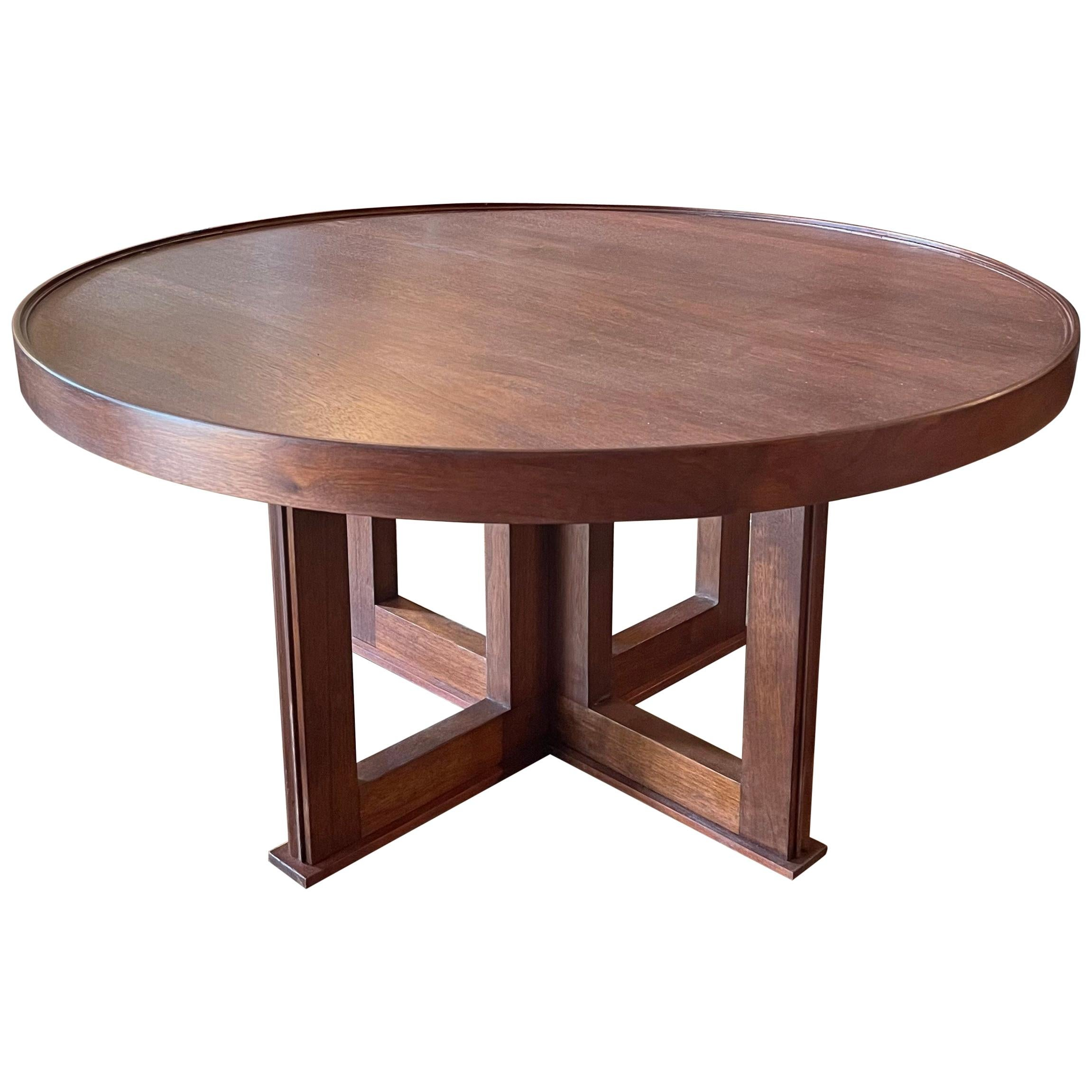 Midcentury Round Walnut Coffee Table