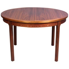 Midcentury Round Walnut Dining Table by Troeds, Sweden, 1960s
