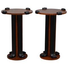 Midcentury Round Walnut Wood Italian Side Tables, 1950