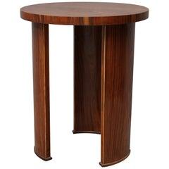 Midcentury Round Walnut Wood Italian Side table, 1950