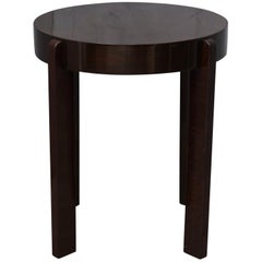 Midcentury Round Walnut Wood Stained in Dark Mahogany Sidetable, 1940