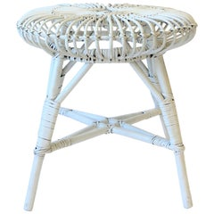 Round White Wicker Rattan Stool or Side Table by Franco Albini
