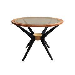 Midcentury Round Wood Side Table with Bronze Glass Top and Ebonized Splayed Legs
