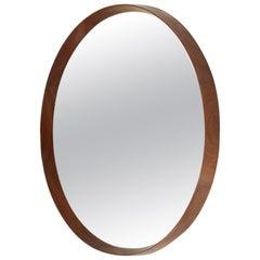 Midcentury Round Wooden Frame Mirror, 1960s