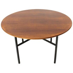 Midcentury Round Wooden Table by Florence Knoll for Knoll, 1950s