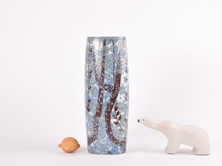Mid-Century Modern Midcentury Royal Copenhagen BACA Floor Vase Blue White Flower Decor Danish 1970s For Sale