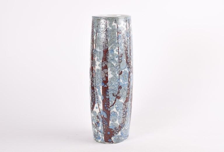 Late 20th Century Midcentury Royal Copenhagen BACA Floor Vase Blue White Flower Decor Danish 1970s For Sale