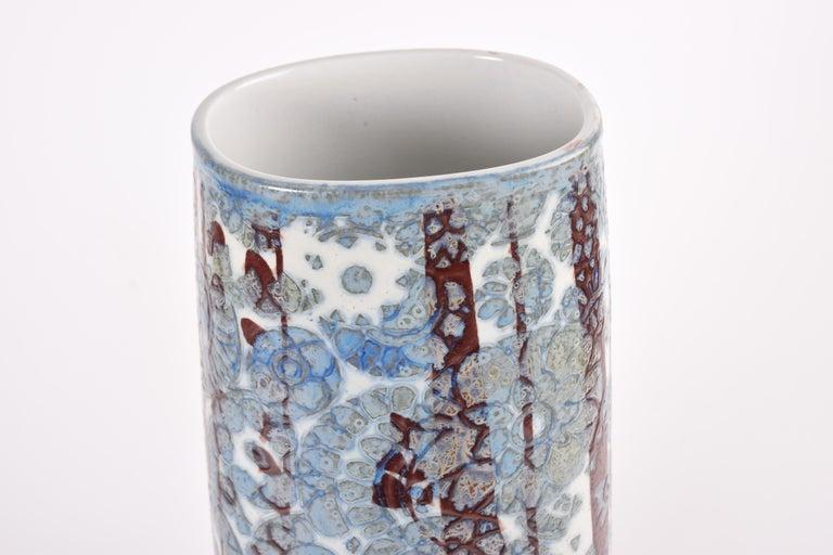 Ceramic Midcentury Royal Copenhagen BACA Floor Vase Blue White Flower Decor Danish 1970s For Sale