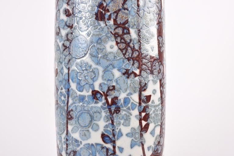 Midcentury Royal Copenhagen BACA Floor Vase Blue White Flower Decor Danish 1970s For Sale 1