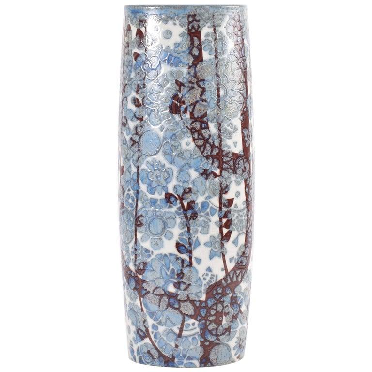Midcentury Royal Copenhagen BACA Floor Vase Blue White Flower Decor Danish 1970s For Sale
