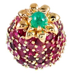 """Midcentury Ruby and Emerald """"Strawberry"""" Ring"""