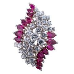 Midcentury Ruby Diamond White Gold Cocktail Ring