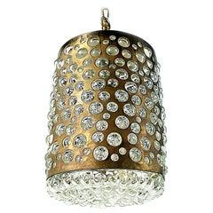 Midcentury Rupert Nkoll Brass and Bubble Glass Pendant Lamp, 19060s, Austria