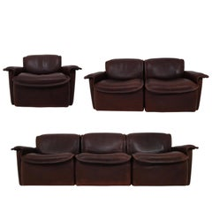 Midcentury Saddle-Stitched Leather Seating Group Ds-12 by De Sede, Switzerland