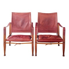 Midcentury Safari Chairs by Kaare Klint in Oxblood Leather with Rosewood Frame