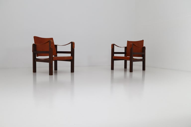 Midcentury Safari Chairs in Oak and Cognac Patinated Leather, France, 1960s For Sale 4