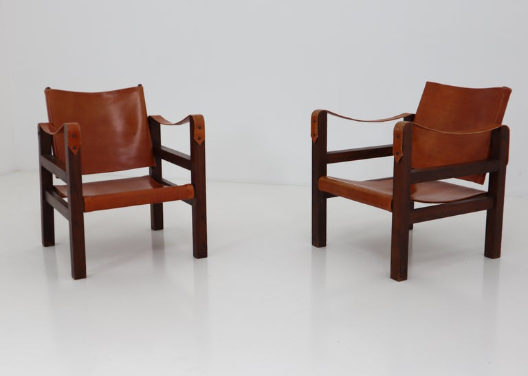 Midcentury Safari Chairs in Oak and Cognac Patinated Leather, France, 1960s In Good Condition For Sale In Almelo, NL