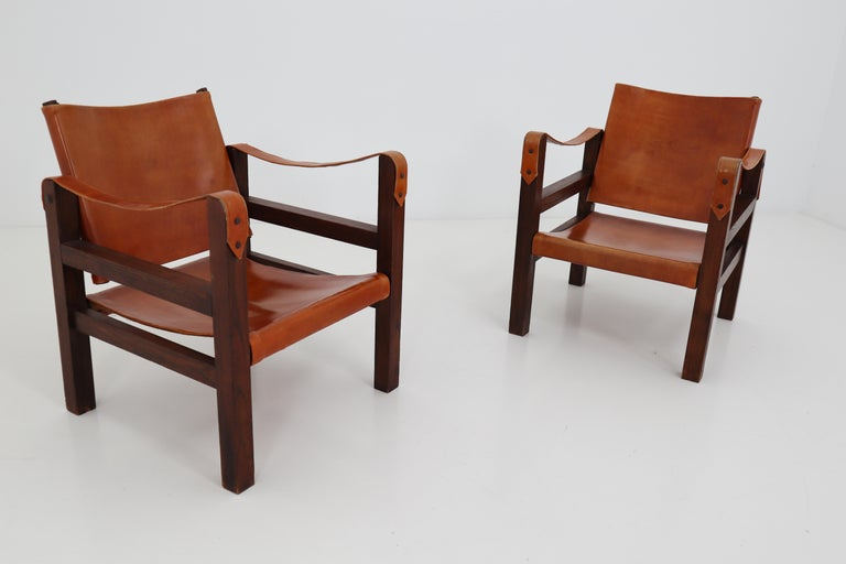 Midcentury Safari Chairs in Oak and Cognac Patinated Leather, France, 1960s For Sale 1