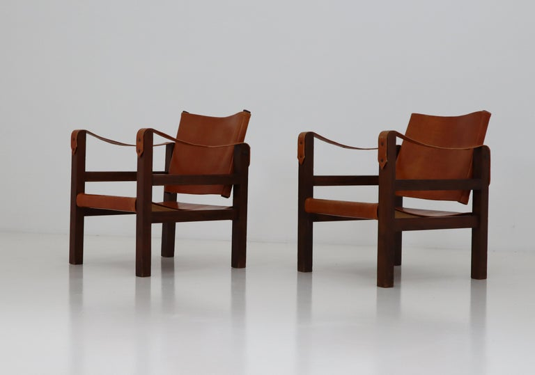 Midcentury Safari Chairs in Oak and Cognac Patinated Leather, France, 1960s For Sale 2
