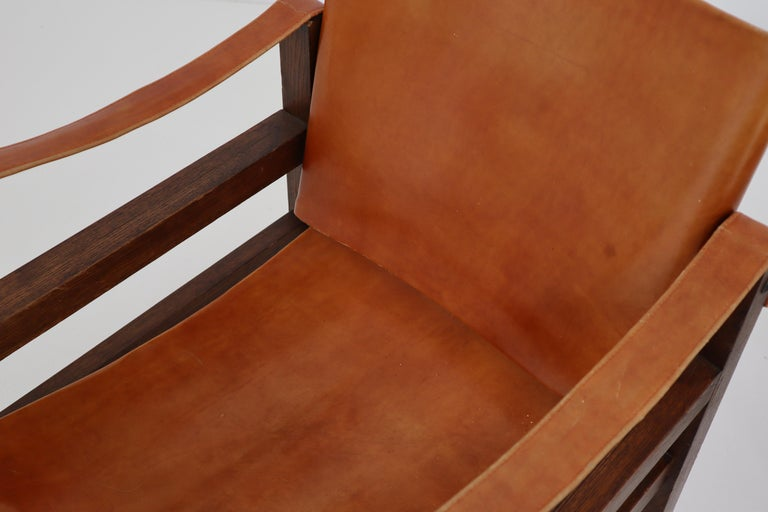 Midcentury Safari Chairs in Oak and Cognac Patinated Leather, France, 1960s For Sale 3