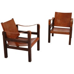 Midcentury Safari Chairs in Oak and Cognac Patinated Leather, France, 1960s