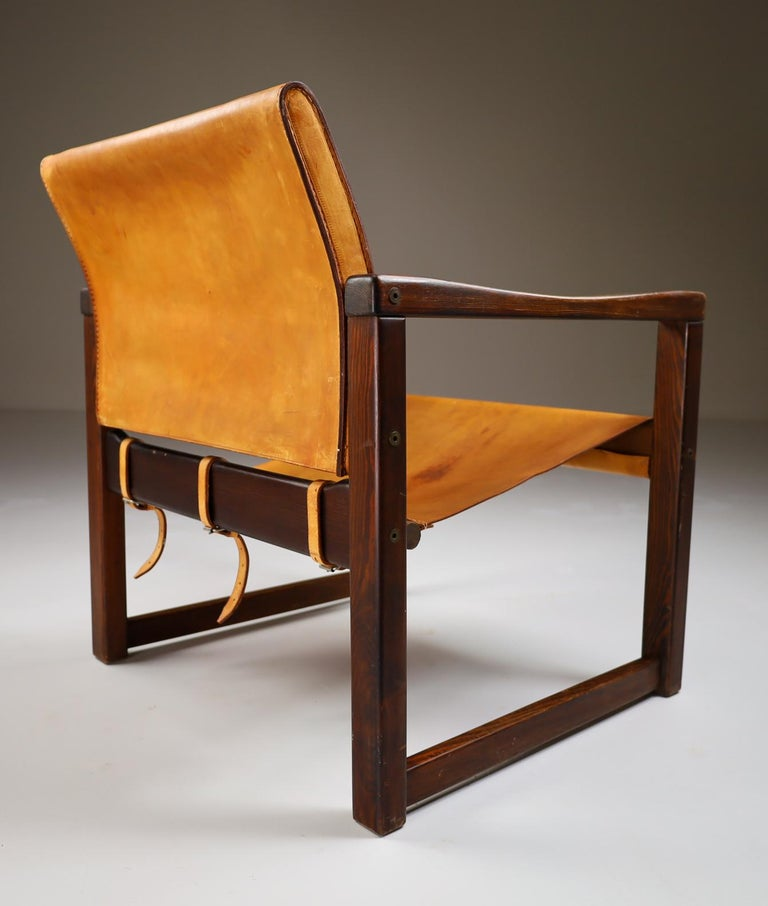 20th Century Midcentury Safari Lounge Chair in Patinated Cognac Saddle Leather, 1970s For Sale