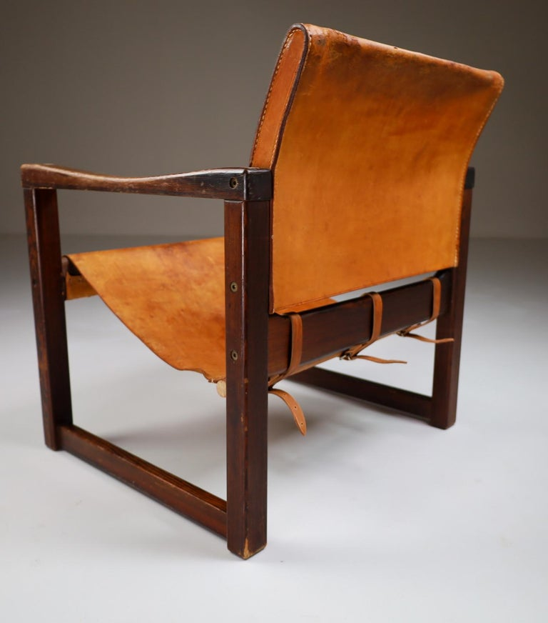 Midcentury Safari Lounge Chair in Patinated Cognac Saddle Leather, 1970s For Sale 2