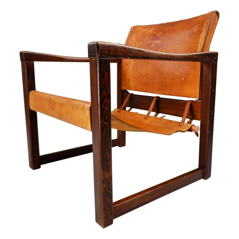 Midcentury Safari Lounge Chair in Patinated Cognac Saddle Leather, 1970s For Sale