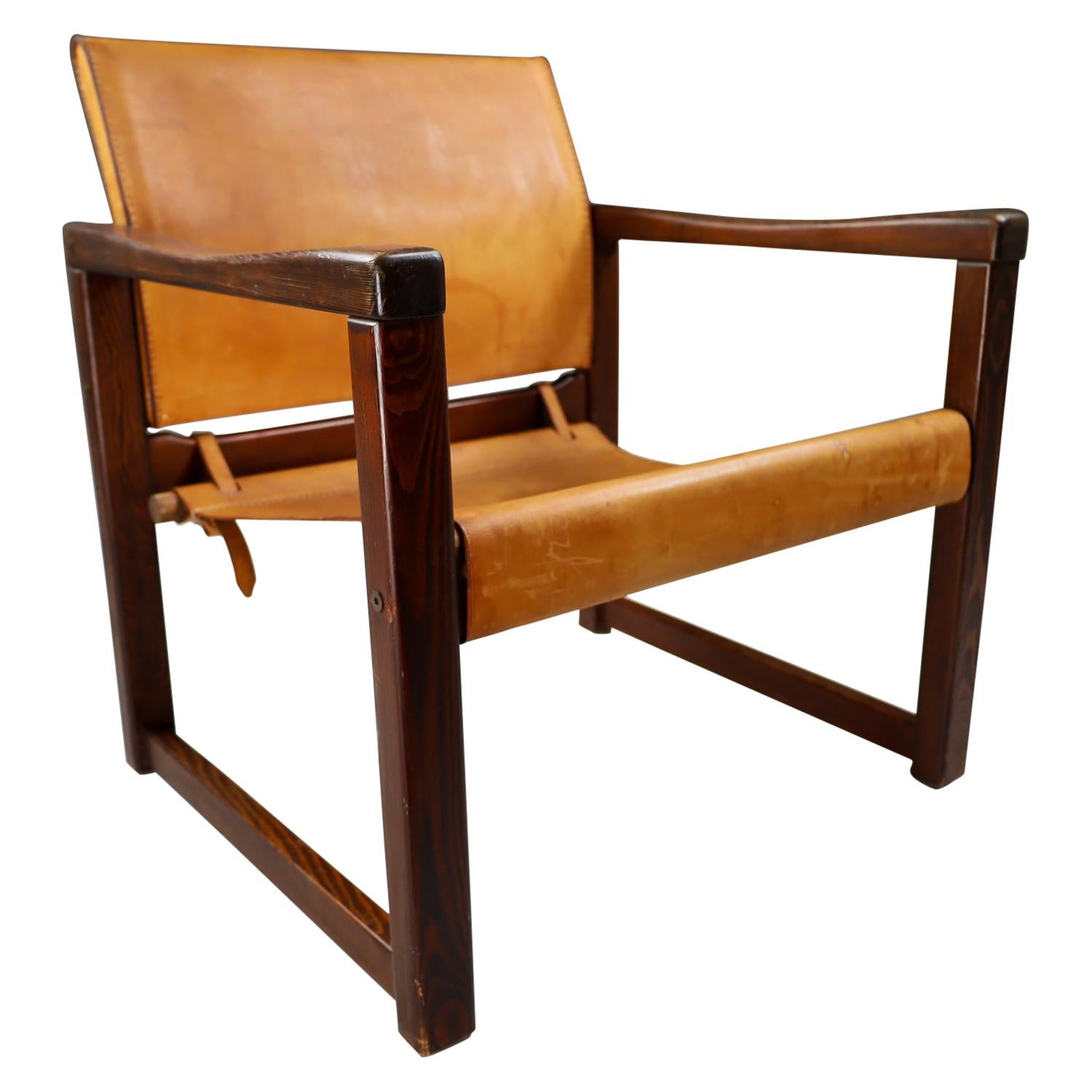 Midcentury Safari Lounge Chair in Patinated Cognac Saddle Leather, 1970s