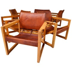Midcentury Safari Lounge Chairs in Patinated Cognac Saddle Leather, 1970s