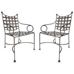 Midcentury Salterini Wrought Iron Garden Chairs, Pair