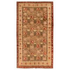 Midcentury Samarkand Beige, Brown, Carmine and Blush Handmade Wool Rug
