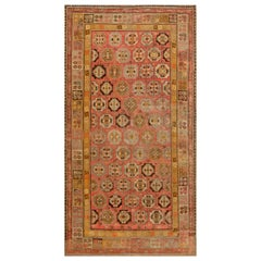 Midcentury Samarkand Beige, Brown, Gold and Pink Handmade Wool Rug