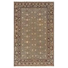 Midcentury Samarkand Blue and Brown Handmade Wool Rug