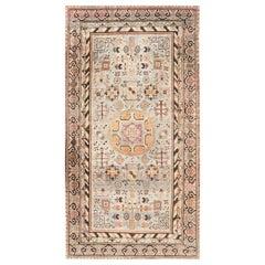 Midcentury Samarkand Blue, Brown, Orange and Purple Handmade Wool Rug